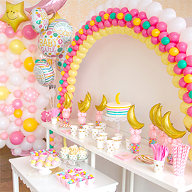 Baby Shower Balloon Decorations with Balloon Wall and Candy Cups
