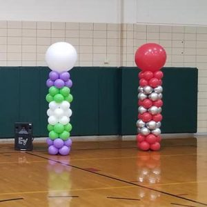 Balloon Culumns and decorations for school event themed to superheroes
