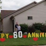 Happy 60th anniversary yard card delivery to the lawn