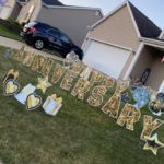 Happy 9th anniversarry photos yard cards glitter gold gifts hearts balloons stars