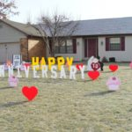 Happy Anniversary Yard Signs 13 years cupcakes and hearts